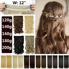 Wide Weft Real Thick 3/4 Full Head Clip in Hair Extension Straight Curly ANh8