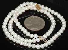 Solid 10K Gold 5 mm Strand White Cultured Pearl Necklace 15.49 Grams 18""