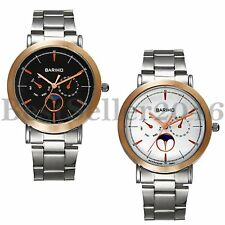 Fashion Mens Ultra Thin Stainless Steel Stars Moon Phase Dial Quartz Wrist Watch