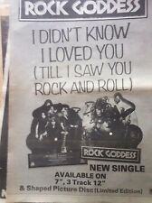 ROCK GODDESS - I DIDNT KNOW I LOVED YOU - original magazine advert small poster