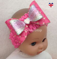 Faux Leather Sequin & Glitter Hot Pink Hair Bow Headband Baby Girl Accessory