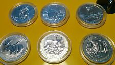 Six coins Canada Wildlife Series Complete 1oz 9999 Fine Silver Set - 6 oz total