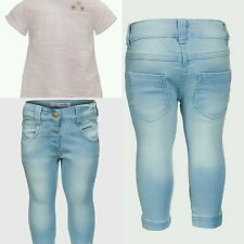 Baby Girls Jeans Denim Skinny & Waffle Top White Outfit. Age 6 9 12 18 24 Months