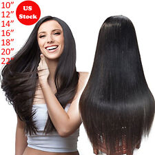 Hot Brazilian Human Hair Full Lace Front Wig Long Straight Body Wave Curly Black