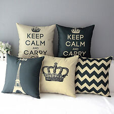 HOME DECORATIVE LINEN COTTON BLENDED CUSHION COVER CROWN THROW PILLOW CASE SHINY
