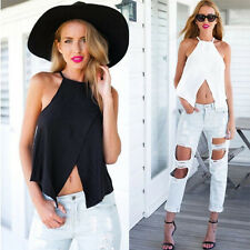 Chiffon Blouses Vest Blouse Hollow Lady Elegant Neck Slash Sleeveless Top Lady