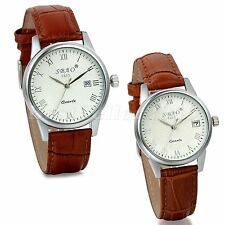 Casual Mens Womens Date Dial Leather Band Sports Quartz Analog Wrist Watch Gift