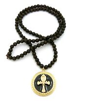 Gold Ankh Cross Round Medallion Pendant Charm Wood Bead Chain Necklace Jewelry