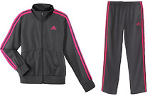 New Adidas Gym Youth Girls Kids Designator Tracksuit Jacket Pants Grey Pin SZ M