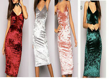 New Women Crushed Velvet  Ladies Strappy Midi Bodycon Party Cocktail Dress Top