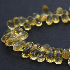 "143cts Golden Citrine 6x10mm Size Faceted Teardrop Briolette Beads 8"" Strand"