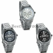 Luxury Mens Classic Dial Watches Stainless Steel Band Quartz Analog Wrist Watch