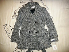 CALVIN KLEIN Double Breasted Tweed Coat Womens Belted Black & White Jacket - 10P