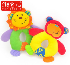 Plush toy stuffed doll musical rattle teether monkey lion bell hand ring 1pc
