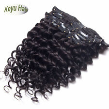 7pcs 120g Full Head Brazilian Deep Wave Clip in Real Human Hair Weft Extensions