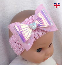 Faux Leather & Sequin Baby Pink Hair Bow Headband Baby Girl Accessory