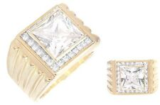 Mans Classic Swarovski 9 Carat Cubic Zironcia Ring 14K Gold Plated