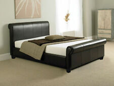 Brown Faux Leather Sleigh Bed 4FT Small Double With Mattresses Available