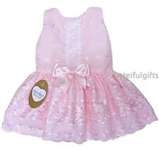 Girls Spanish Style Pink Broderie Anglaise Bow Dress 3-24 Mths 2-3 & 3-4 Years