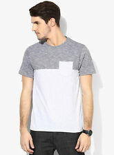 Burton Grey Solid Regular Fit Round Neck T-Shirt