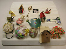 Lot of Costume Jewelry Pins Brooches Spring Birds Birdhouse Easter AS IS