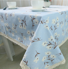 Elegant Blue Country Style  Coffee Table Cotton Linen Cloth Cover oAUr