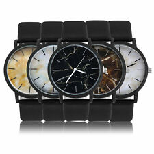 Men Women Unisex Retro Leather Strap Vintage Marble Pattern Quartz Wrist WatchF7