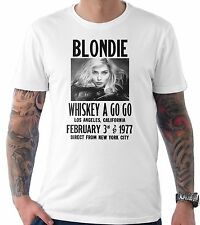 Blondie Gig Poster Flyer Rock band Music 70's Retro Vintage T Shirt White 1970's