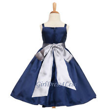 Navy Blue Holiday Wedding Pageant Party Flower Girl Dress 12-18M 2 4 5/6 8 10 12