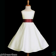 IVORY/BURGUNDY WINE HOLIDAY A-LINE FLOWER GIRL DRESS 12-18M 2 4 6 8 10 12 14 16