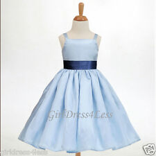 SKY BLUE SPAGHETTI STRAPS EASTER FLOWER GIRL DRESS 12M 18M 24M 2/2T 4 6 8 10 12
