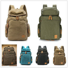 Men's Vintage Canvas Travel School Laptop Backpack Camping Rucksack Bag Satchel