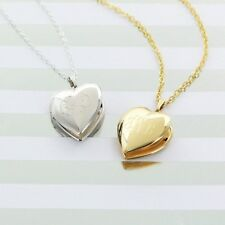 PERSONALIZED MONOGRAMMED HINGED HEART LOCKET NECKLACE: GOLD TONE or SILVER TONED