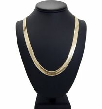 """Mens Herringbone Chain 14K Gold Plated 9mm 20"""" 24"""" 30"""" Necklace"""