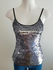 Ladies Ajoy Silver/Black Disco Sequined Dressy Singlet Top Size 8