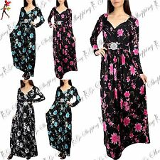 Womens Silver Buckle Maxi Ladies V Neck Front Tie Knot Twisted Floral Maxi Dress