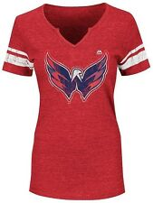 Washington Capitals NHL Womens Majestic Notch V Neck Shirt Red Plus Sizes