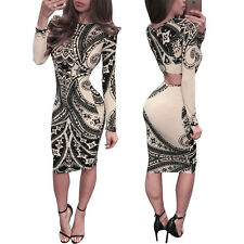 Sexy Women Bodycon Bandage Vintage Totem Cut out Dress Cocktail Party Clubwear