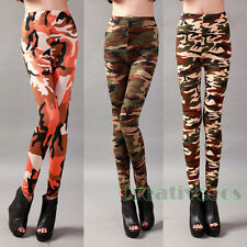 Women's Army Camouflage Graffiti Colorful Stretchy Back Tight Leggings Pants New