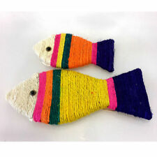 Cute Fish Shape Cat Scratching Board Mat Natural Sisal Scratch Pad Kitty Toy New
