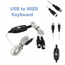 USB IN OUT MIDI Interface Cable Converter PC to Music Keyboard Adapter Cord HF