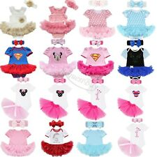 Baby Girl Kids Newborn Headband Playsuit Romper Dress Outfit Tutu Clothing Set