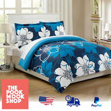 Blue - Duvet Cover BEDDING Set Reversible [Doona Quilt BED] Floral Large Design
