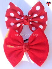 Minnie Mouse Hair Bow, Red Glitter, Red & White Polka Dot Elastic Bobbles