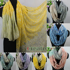 Fashion Women Striped Gradient Color Zig Zag Long Shawl/Infinity Loop Cowl Scarf