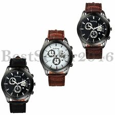 Fashion Men's Womens Date Dial Leather Strap Quartz Analog Sports Wrist Watch