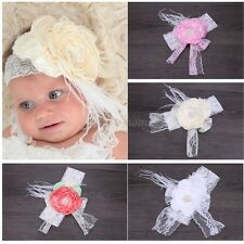 Kids Girl Infant Baby Headband Toddler Wide Lace Bow Flower Hair Band Accessory