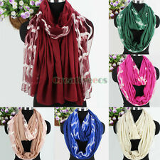 Women Wave Shape Embroidery Tulle Stitching Cotton Long Shawl/Infinity Scarf New