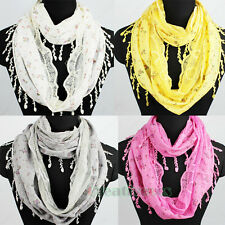 Women Fashion Flower Leaf Lace Trim Tassel Stitching Infinity Loop Scarf Shawl