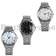 Luxury Men's Date Dial Stainless Steel Calendar Sports Quartz Analog Wrist Watch